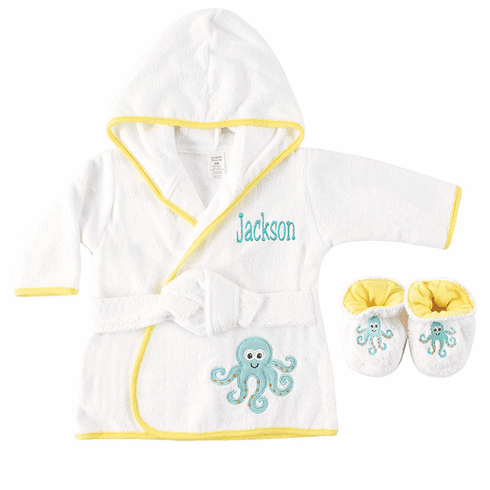 Personalized Infant Terry White Octopus Baby Bath Robe with Slippers - Yellow trim For Boys or Girls