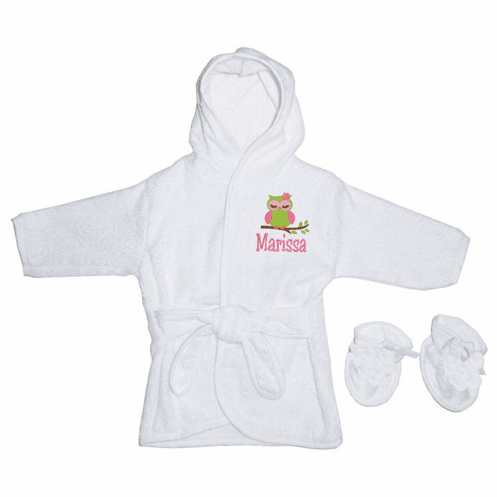 Personalized Infant Terry White Owl Baby Bath Robe with Pink Accents & Slippers