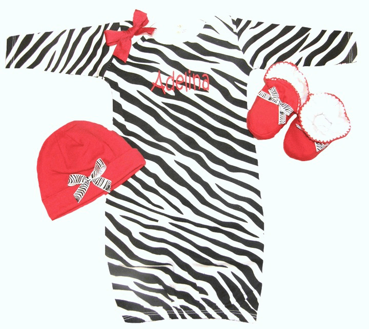 Personalized Infant Zebra Print Gown with Red Hat & Booties