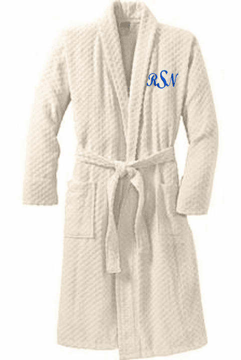 Personalized Ivory 100% Cotton Checkered Terry Shawl Collar Robe