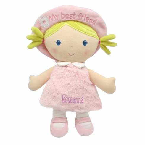 """PERSONALIZED Kids Preferred Elena Soft Pink Baby Doll 11"""" Tall Yellow Hair"""