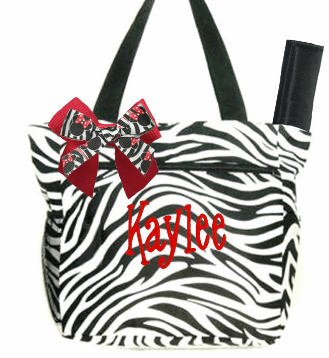 Personalized Large Baby Diaper Bag Tote Zebra Print w/Changing pad