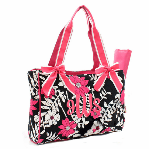 Personalized Large Hot Pink and Black Floral Print Baby Diaper Bag Tote w/Changing pad