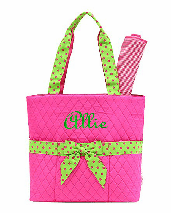 Personalized Large Hot Pink w Lime Ribbon Trim Baby Diaper Bag Tote w/Changing pad