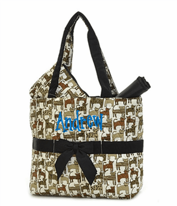 Personalized Large Kitty Cat Print With Black Trim Baby Diaper Bag Tote w/Changing pad