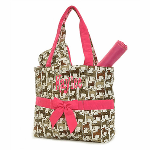 Personalized Large Kitty Cat Print With Hot Pink Trim Baby Diaper Bag Tote w/Changing pad