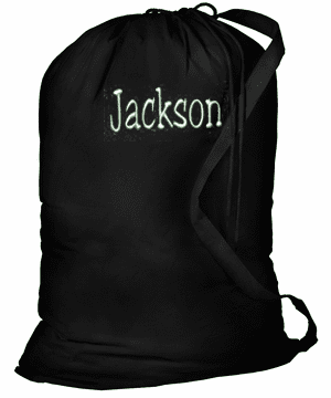 Personalized Large Laundry Bag Black With Strap