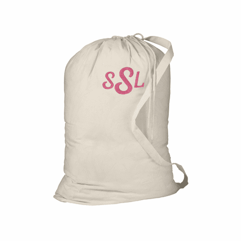Personalized Large Laundry Bag Natural With Strap