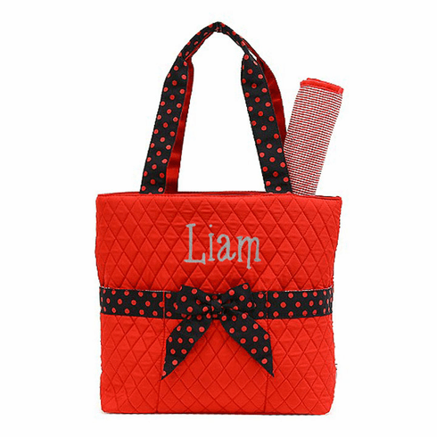 Personalized Large Red with Black Polka-Dots Baby Diaper Bag Tote w/Changing pad