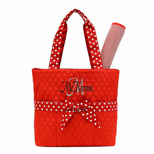 Personalized Large Red with Polka-Dot Trim Baby Diaper Bag Tote w/Changing pad