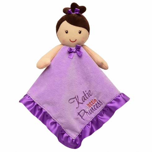 PERSONALIZED Lavender & Purple Brown Hair Girl Snuggly Blanket