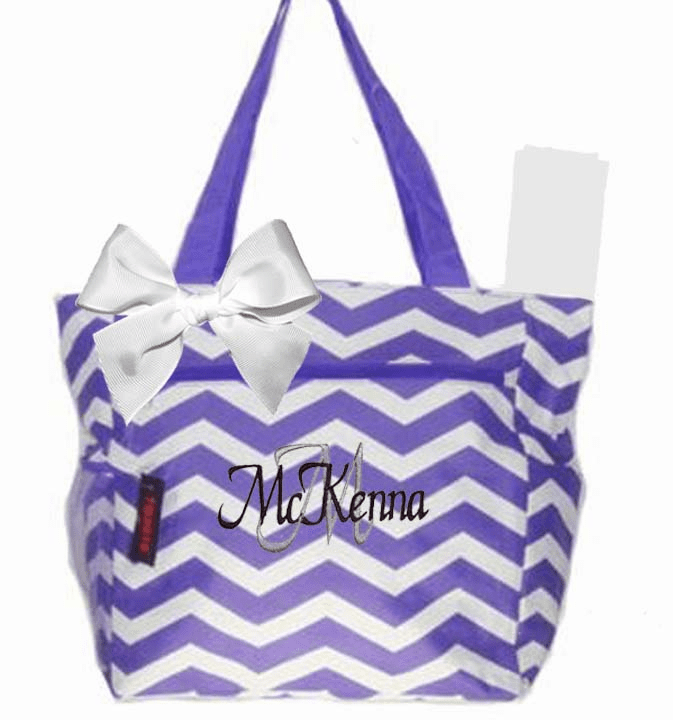Personalized Lavender & White Chevron Pattern Diaper Bag