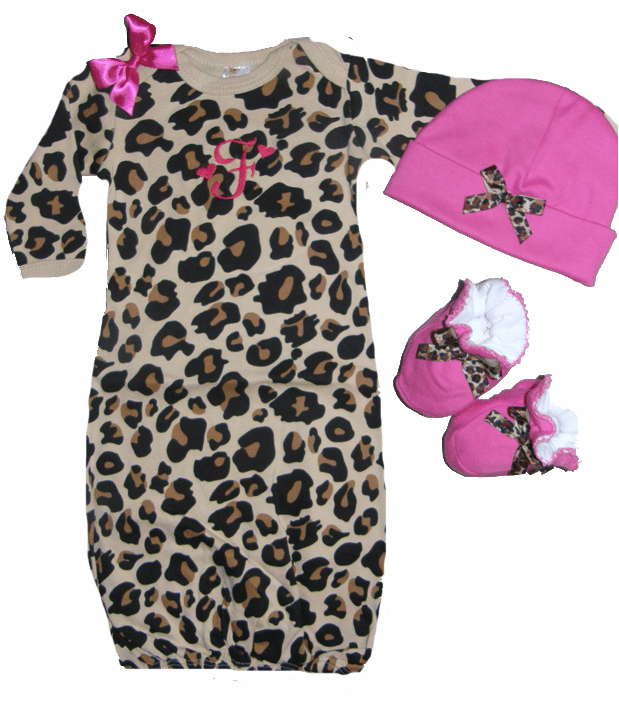 Personalized Leopard Print Infant Gown Pink Booties & Hat Ribbon Trim