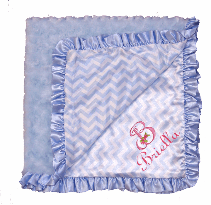 Personalized Light Blue Chevron Satin with Light Blue Swirls Rosette Ruffled Baby Blanket