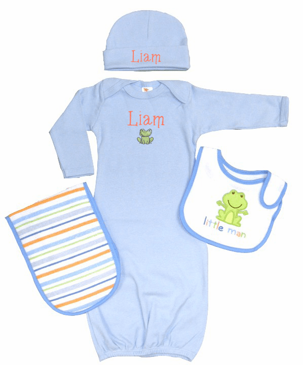Personalized Light Blue Infant Baby Gown & Hat Set Froggie Little Man Design