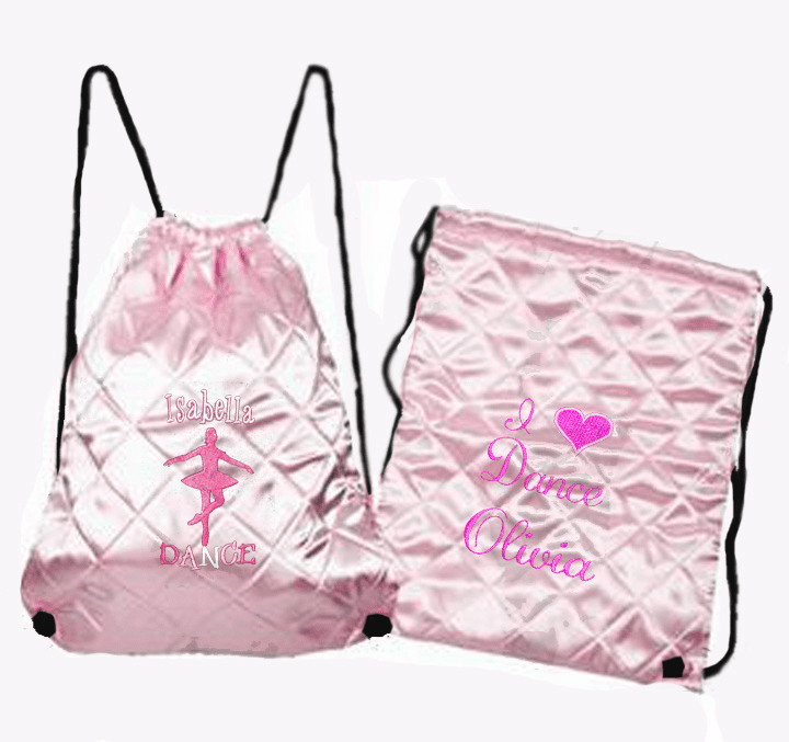 Personalized Light Pink Quilted Dance Backpack/Cinch Pack Embroidered Design