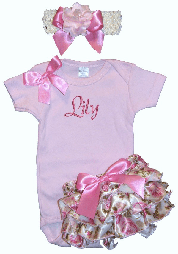 Personalized Light Pink Victorian Satin Rose Ruffled Bloomer Outfit Set