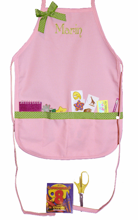 Personalized Light Pink with Lime Trim Craft Crayon Apron