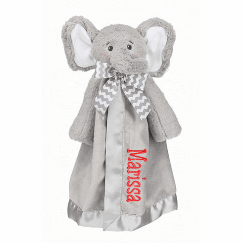 PERSONALIZED Lil' Spout Grey Elephant Security Snuggle Blanket