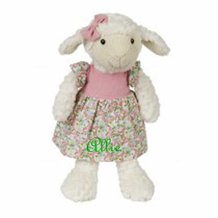 PERSONALIZED Lillie the Lamb Dressed in Pink & Floral Print 14""