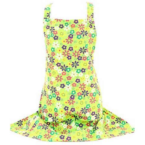 Lime Flowers Ladies Apron 100% Cotton