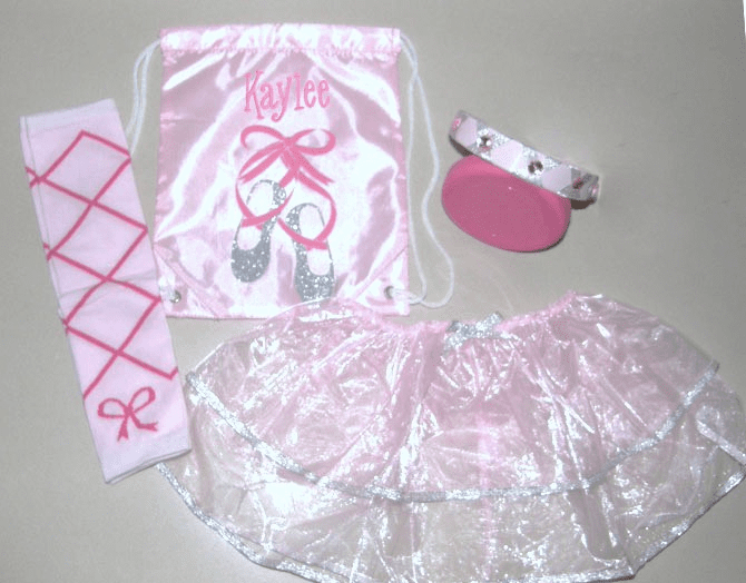 Clearanced Priced Little Kids Light Pink & Silver Dance w/Bag, Leg Warmers, Tutu, Head Band with Gems