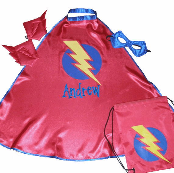 Personalized Little Kids Super Hero Cape Blue & Red w/ Bag, Mask, Cuffs
