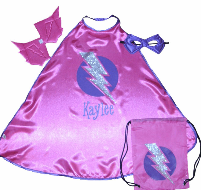 Personalized Little Kids Super Hero Cape Pink & Purple w/ Bag, Mask, Cuffs