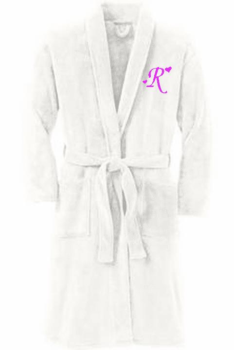 Personalized Marshmallow Plush Microfleece Shawl Collar Robe
