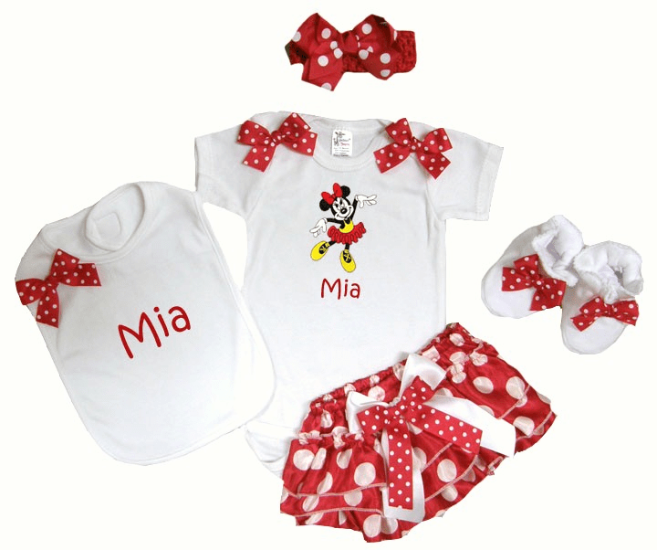 Personalized Minnie Mouse Baby Girl Onezee, Diaper Cover, Bib, Booties & Headband Set