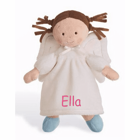 "PERSONALIZED NAB Little Angel Soft Tan Brunette Baby Doll 10"" Tall"