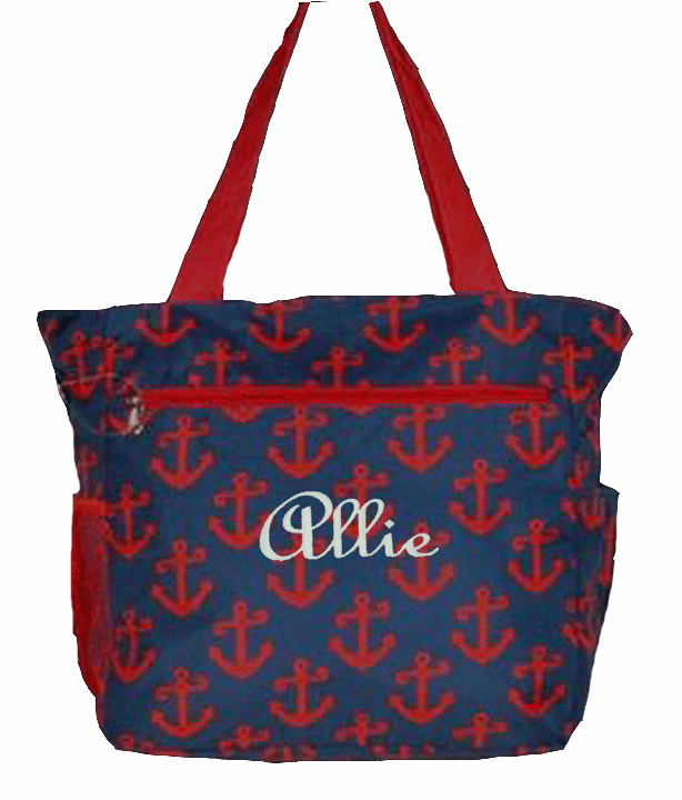 Personalized Navy Blue & Red Anchor Pattern Tote Bag