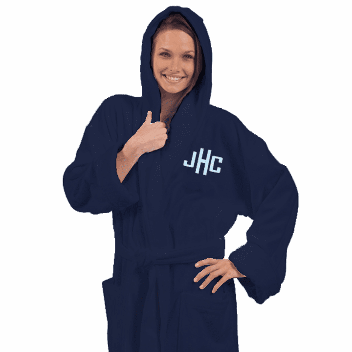 """Personalized Navy Blue Terry Velour Hooded Robe 54"""""""