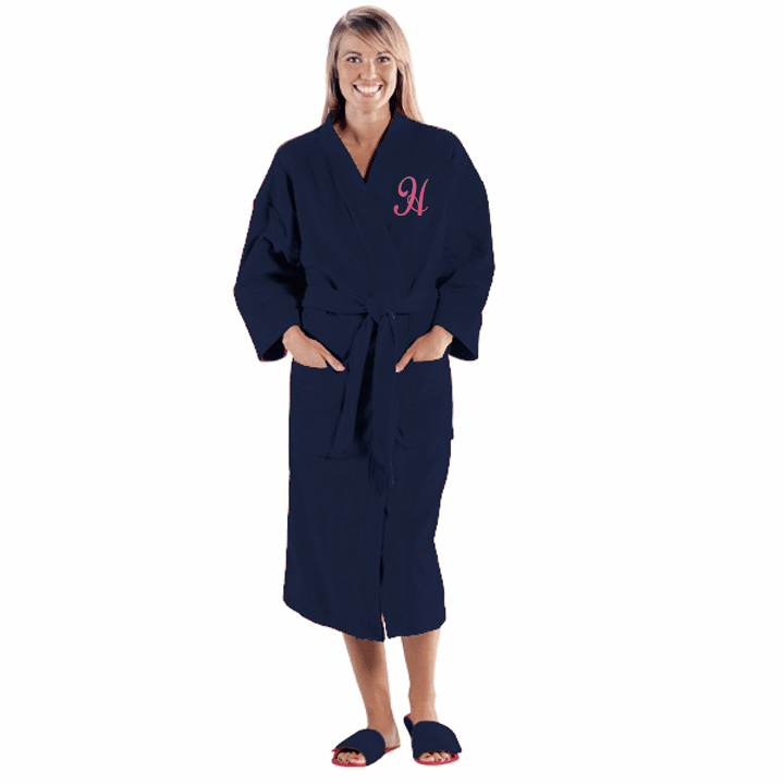 Personalized Navy Blue Terry Velour Kimono Robe  48""