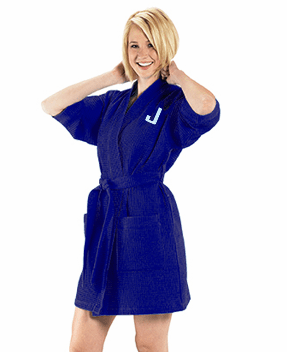 Personalized Navy Blue Thigh Length Waffle Weave Kimono Robe 36""