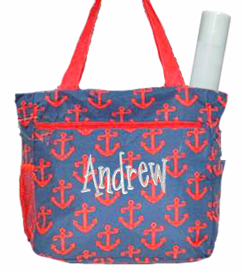 Personalized Navy & Red Anchor Pattern Diaper Bag w/Changing Pad