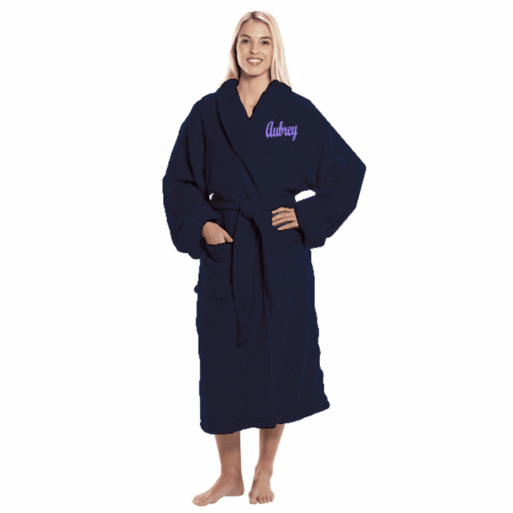 Personalized Navy Tahoe Micro Fleece Shawl Collar Robe 48""