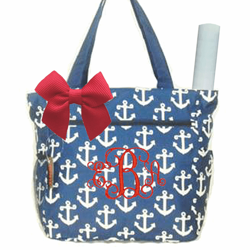 Personalized Navy & White Anchor Pattern Diaper Bag w/Changing Pad