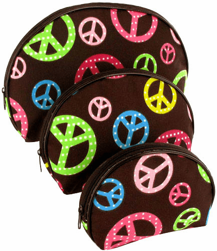 Nesting Brown Multi-Color Nesting Cosmetic Bag 3 Piece Set Peace Sign