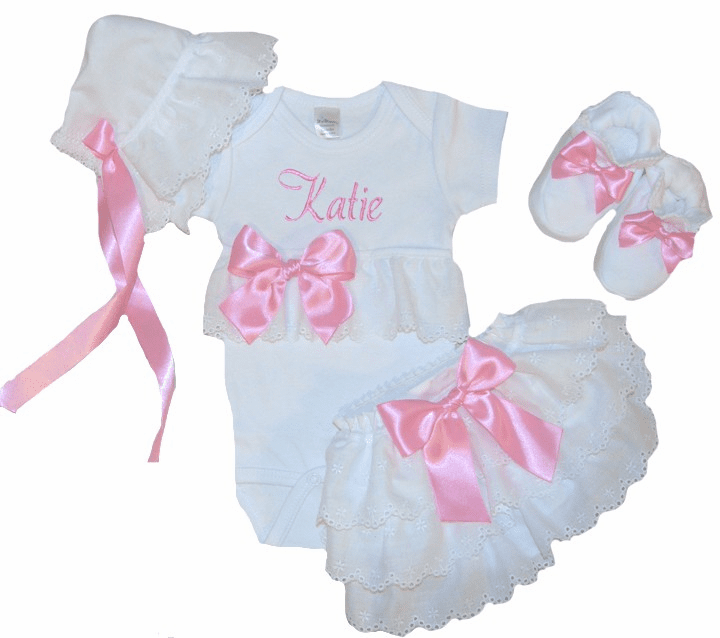 Personalized Onezee, Bloomers, Booties & Bonnet Set Bubble Gum Pink and Eyelet Lace