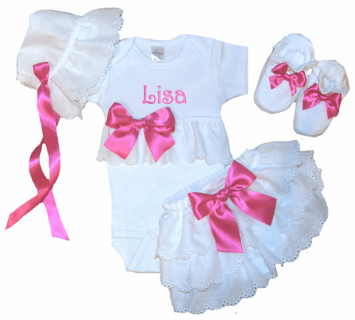 Personalized Onezee, Bloomers, Booties & Bonnet Set Hot Pink and Eyelet Lace