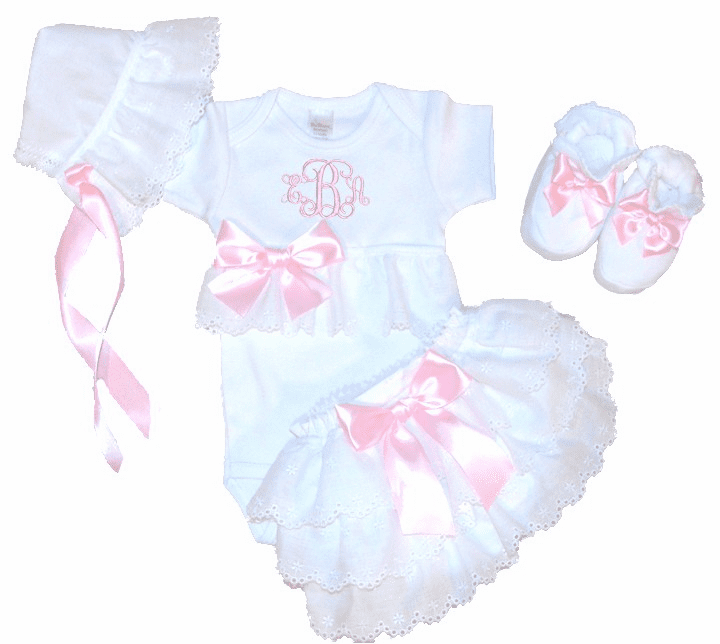 Personalized Onezee, Bloomers, Booties & Bonnet Set Light Pink and Eyelet Lace