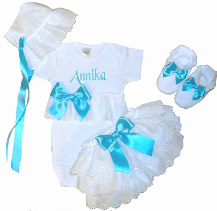 Personalized Onezee, Bloomers, Booties & Bonnet Set Turquoise and Eyelet Lace