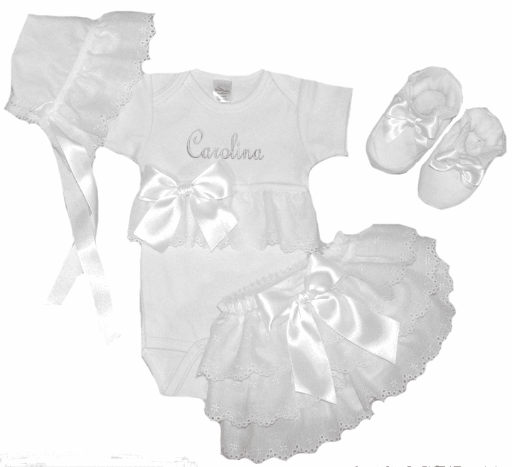 Personalized Onezee, Bloomers, Booties & Bonnet Set White and Eyelet Lace