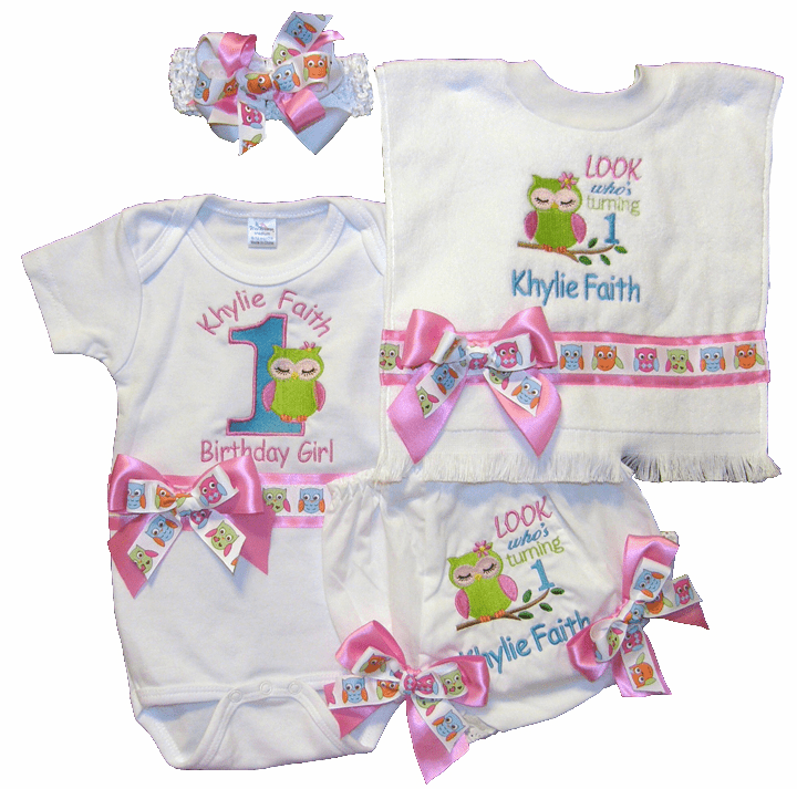 Personalized Owl Birthday Outfit Look Who's One Onezie, Bib & HB