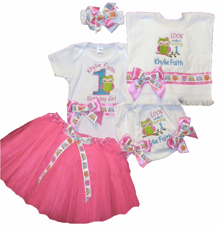 Personalized Owl Birthday Outfit Look Who's One Onezie, Diaper Cover, Tutu, Bib & HB