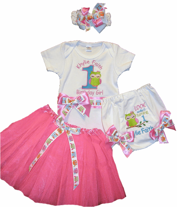 Personalized Owl Birthday Outfit Look Who's One Onezie, Diaper Cover, Tutu, & HB