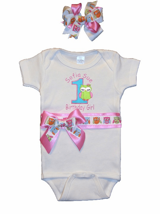 Personalized Owl Birthday Outfit Look Who's One Onezie & Headband