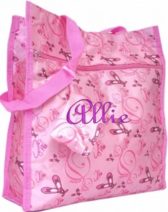 Personalized Pink Ballet Print Satin Ballet Slipper Tote Dance Bag