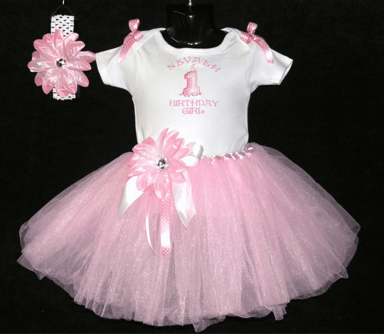 PERSONALIZED Pink Birthday Girl Tutu Outfit, Onezee & Headband